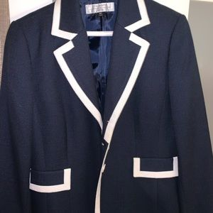 Blue and white suit blazer